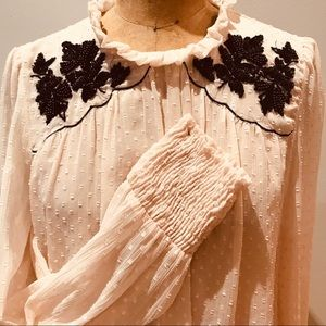 Zara embroidered georgette blouse size M